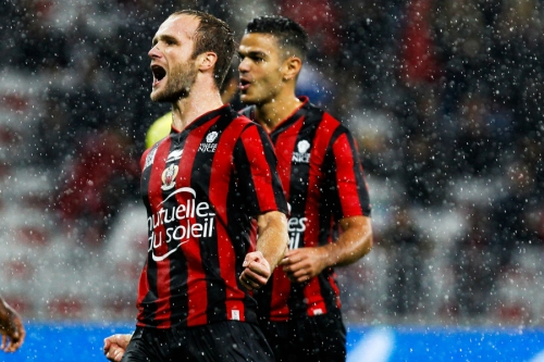 Joie NICE - Valere GERMAIN / Hatem BEN ARFA - 03.10.2015 - Nice / Nantes - 9eme journee de Ligue 1 Photo : Jean Christophe Magnenet / Icon Sport